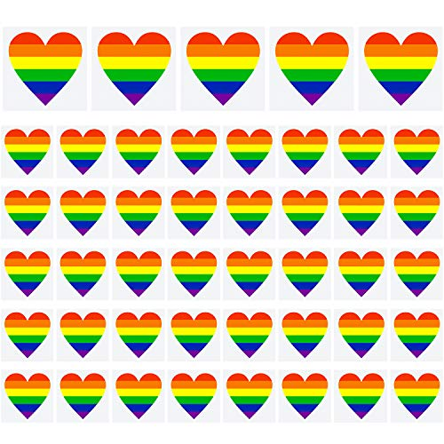 Resinta 45 Pieces Gay Pride Rainbow Temporary Tattoos Rainbow Flag Stickers Removable Waterproof Body Rainbow Temporary Tattoos, Heart Shapes Stripes