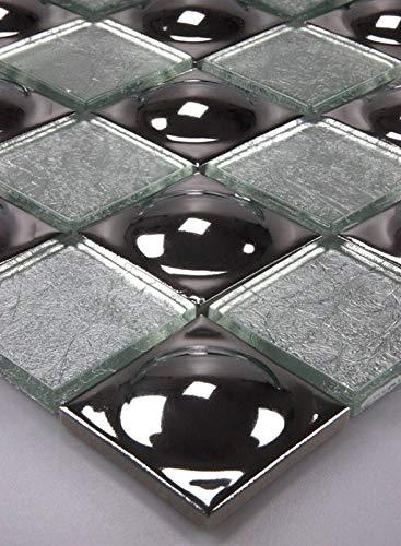Mosaico di vetro piastrelle mosaico piastrelle di vetro in vetro acciaio inox sfere d'argento 30 x 30, nuovo