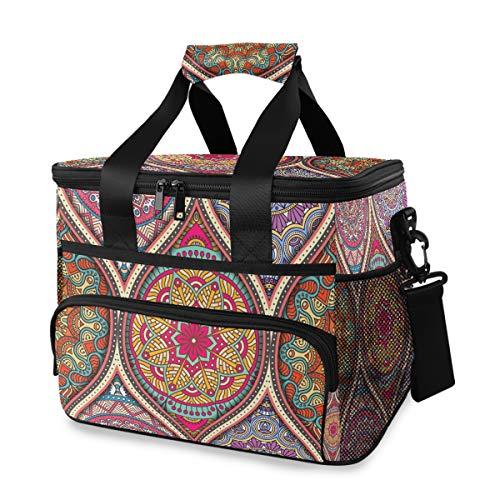 Picknick schouderriem koelbox ijs Pack Vintage Boheemse Indiase Turkse bloemen Mandala Str Lunch Bag Organizer draagbaar
