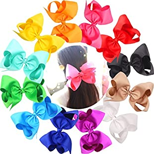 Customer reviews Cellot Boutique Huge Hair Bows 12 Pcs 8 Inches High Quality Handmade Colorful Grosgrain Ribbons   Durable Metal Alligator Clip   No Fraying No Slipping Barrettes For Girls, Women, Babies, Newborns & Toddlers