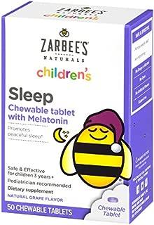 Zarbee's Naturals Children's Sleep with Melatonin Supplement, Natural Grape Flavor, 50 Chewable Tablets