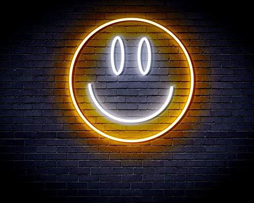 Smiley Face Emoji Flex Silicone LED Neon Sign White & Golden st16s33-fnu0030-we