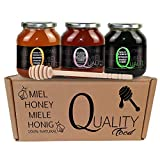 Miel pura de abeja 100%. Miel cruda sin pasteurizar ni calentar. Pack regalo y degustación 3x500g. Tarro de cristal. Origen España. Regalo: dispensador de madera.