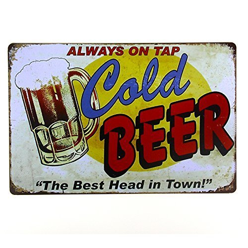 SUMIK Always On Tap Cold Beer The Best Head in Town Metal Tin Sign Vintage Poster Plaque Bar Pub Home Kitchen Wall Decor