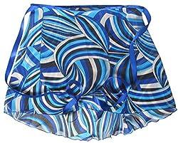Sheer-Delights Blue Retro Print Chiffon Wrap Ballet Skirt