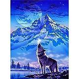 Kits de pintura de diamante para adultos, lobo ladrando en la luna bajo el Iceberg DIY 5D redondo taladro arte perfecto para la relajación y decoración de la pared del hogar 15.7 x 19.7 pulgadas