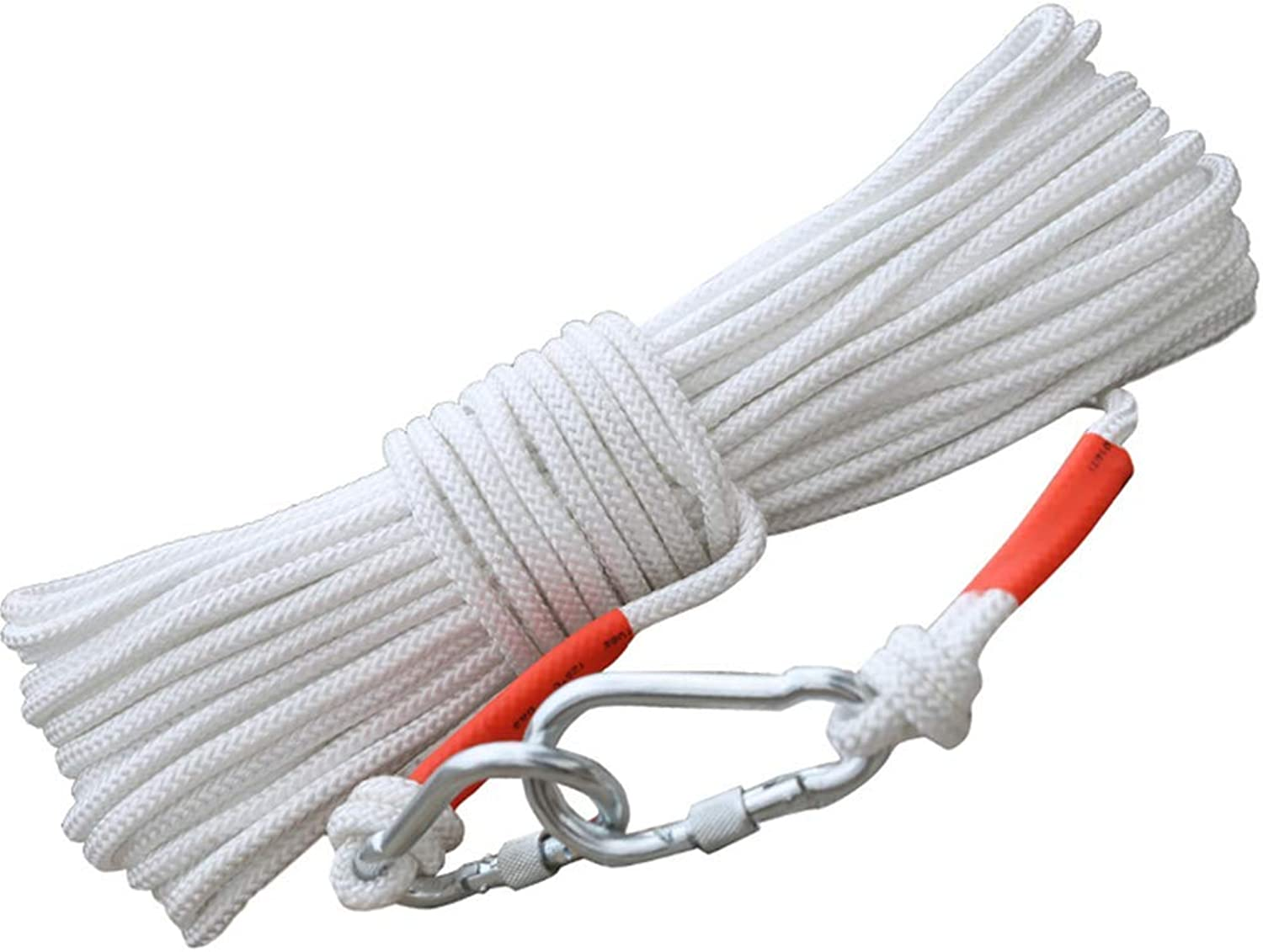 CFJKN Rock Climbing Rope with Carabiner, Professional Static Outdoor Fire Escape Rope Rappelling Rope High Strength Rock Climbing Safety Rope,White_12mm 20m 66ft