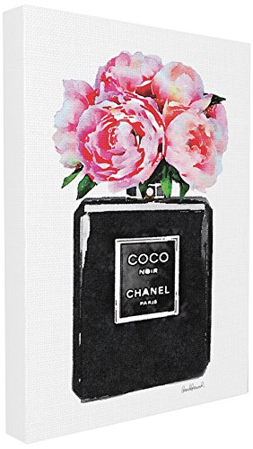 Stupell Industries Glam Perfume Bottle Flower Black Peony Pink Canvas Wall Art, 24 x 30 24 X 30 Giclee Canvas
