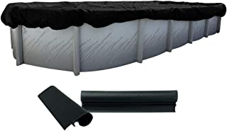 Buffalo Blizzard Deluxe Plus Winter Cover for 21-Foot-by-41-Foot Oval Above Ground Swimming Pools | Blue/Black Reversible | 4-Foot Additional Material | Wind Guard Clips Included