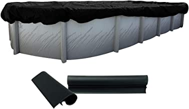 Buffalo Blizzard Deluxe Winter Cover for 18-Foot-by-36-Foot Oval Above Ground Swimming Pools | Blue/Black Reversible | 3-Foot Additional Material | Wind Guard Clips Included