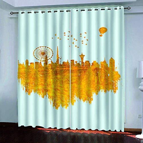 meilishop Impression 3D Rideaux Occultants Moulin À Vent Chambre Protection De La Vie Privée Rideaux Occultants Énergie 100% Polyester Rideau Isolé Thermique 200(H) x130(L) Cmx2 Pièces/Set