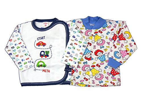 2 Stück Baby Wickelshirt Erstausstatung Erstlingsshirt Größe 50-68 (62, 8)