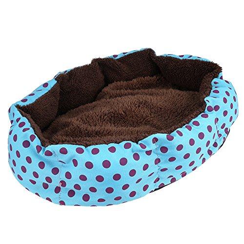 Top van top winkel Zachte Wasbare Huisdier Hond Kat Bed House Nest Pad Gezellige Slaapmutsje Knuffel Sofa Kennel met Verwijderbare Kussen Ronde Polka Dot Patroon, Blauw