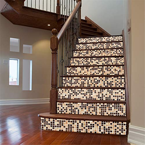 Vobajf Pegatinas Autoadhesivas para escaleras 3D DIY Autoadhesivo Impermeable escaleras Pegatinas Estilo árabe pequeña Moteado azulejo de cerámica Mural Etiquetas engomadas de la Pared y murales