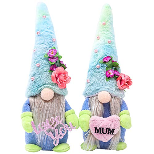 2pcs Mother's Day Dwarf Faceless Doll,Spring Flowers Gnome Easter Gnomes Handmade Shelf Sitters Gnome Nisse Scandinavian Gnomes Plush Elf Dwarf Home Decoration