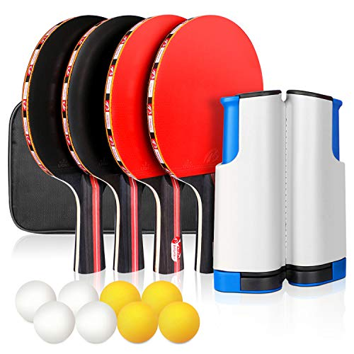 XDDIAS Ping Pong Paddle Set, Portable Table Tennis Racket Sets Includes 4 Ping Pong Rackets, 8 Game Balls, 1 Retractable Net, Storage Case for All Ages Indoor Outdoor