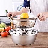 Juego de 3 cuencos de cocina para lavar vegetales, lavabo multifuncional de acero sin dolor, cesta de drenaje, rallador para verduras, frutas y queso