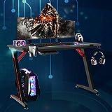 Soontrans Mesa Gaming Escritorio Ergonomico con LED RGB Grand Madera Mesa Escritorio, Mesa para Computador con...
