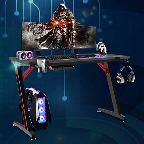 Soontrans Mesa Gaming Escritorio Ergonomico con LED RGB Grand Madera Mesa Escritorio, Mesa para Computador con Portavasos y Gancho para Auriculares 120 x 60 x 73 cm