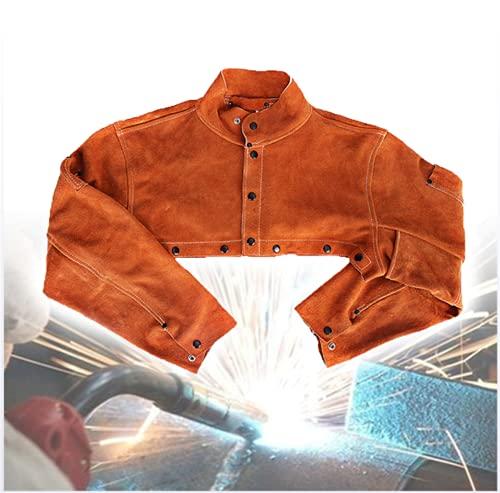 NHY Delantal de soldadura, chaqueta de soldadura, blusa soldada con autógena de piel de vaca con aislamiento ignífugo antipolvo, forja y soldador, XXXL