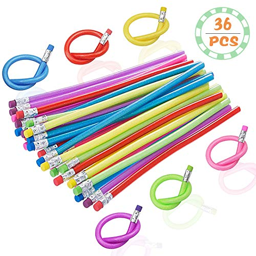 36PCS Flexible Bendable Pencils,Colorful Soft Bendy Pencils with Eraser for Kids or Students as Great Party Favor,Reward and Gifts
