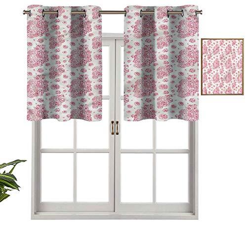 Hiiiman Cortinas cortas, protección de privacidad, peonías inglesas, juego de 1, 132 x 45,7 cm, cortinas de ventana para baño, cocina, sala de estar