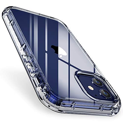 """FLOVEME for iPhone 12 Mini Case Clear 5.4"""" 2020, Dual Layer Rugged Bumper Shockproof Crystal Cover Protective iPhone 12 Mini Clear Case for Women Men Girls Boys"""