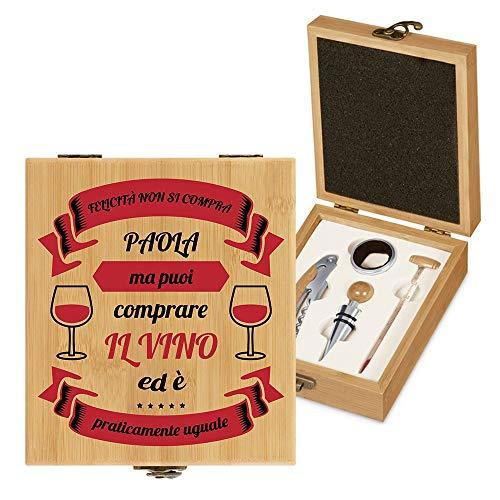 MURRANO Set di accessori da vino - Kit Cavatappi da Vino Degustazione Perfetta Personalizzato - Scatola in legno di bambù + 4 pezzi di Accessori Vino - regalo donna - Felicità