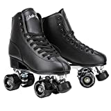 Skate Gear Retro Quad Roller Skates with Structured Boot (Black, Women's 7 / Youth 6 / Men's 6)