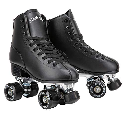 Skate Gear Retro Quad Roller Skates with Structured Boot (Black