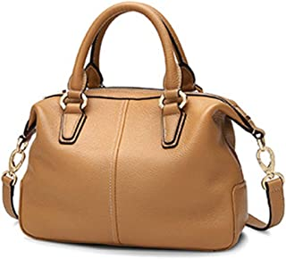 ZXK Black/Brown Leather Women's Bag Fashion Soft Leather Shell Bag Europe and America First Layer Leather Shoulder Hand Strap Bag 28 * 12 * 20(cm) Fashion (Color : Brown)