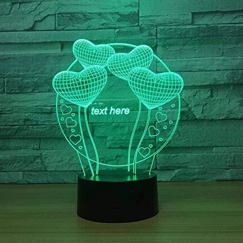 3D Illusie Lampheart-vormige Ballon Stereoscopische Tekening USB Kinderen Volwassen Gift Home Meubels