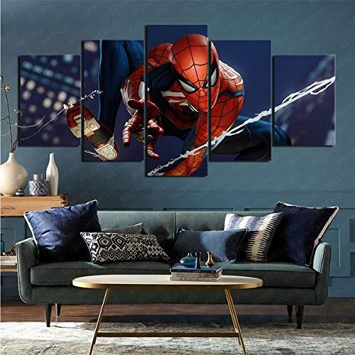 mmkow Imprimir Arte De Pared Videojuego Spider-Man (Ps4) 5 Partes Impresiones Enmarcadas Decoraciones De Oficina En Casa para El Hogar Moderno
