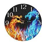 Lerous - Reloj de pared redondo sin garrapatas, reloj silencioso de dragón ardiente y fácil de leer para la escuela, oficina, hogar, cocina, baño, sala de estar, decoración de 30 cm
