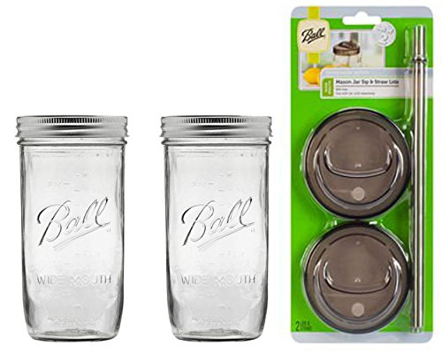 2 Glass Mason Drinking Jars