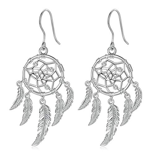 INFUSEU Sterling Silver Dream Catcher Earrings for Women Dangle Leaf Angel Feather Drop Hook Eardrop Tassel Tribal Amulet Jewellery