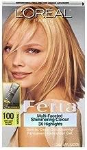 L'Oréal Paris Feria Multi-Faceted Shimmering Permanent Hair Color, 100 Pure Diamond (Very Light Natural Blonde), 1 kit Hair Dye