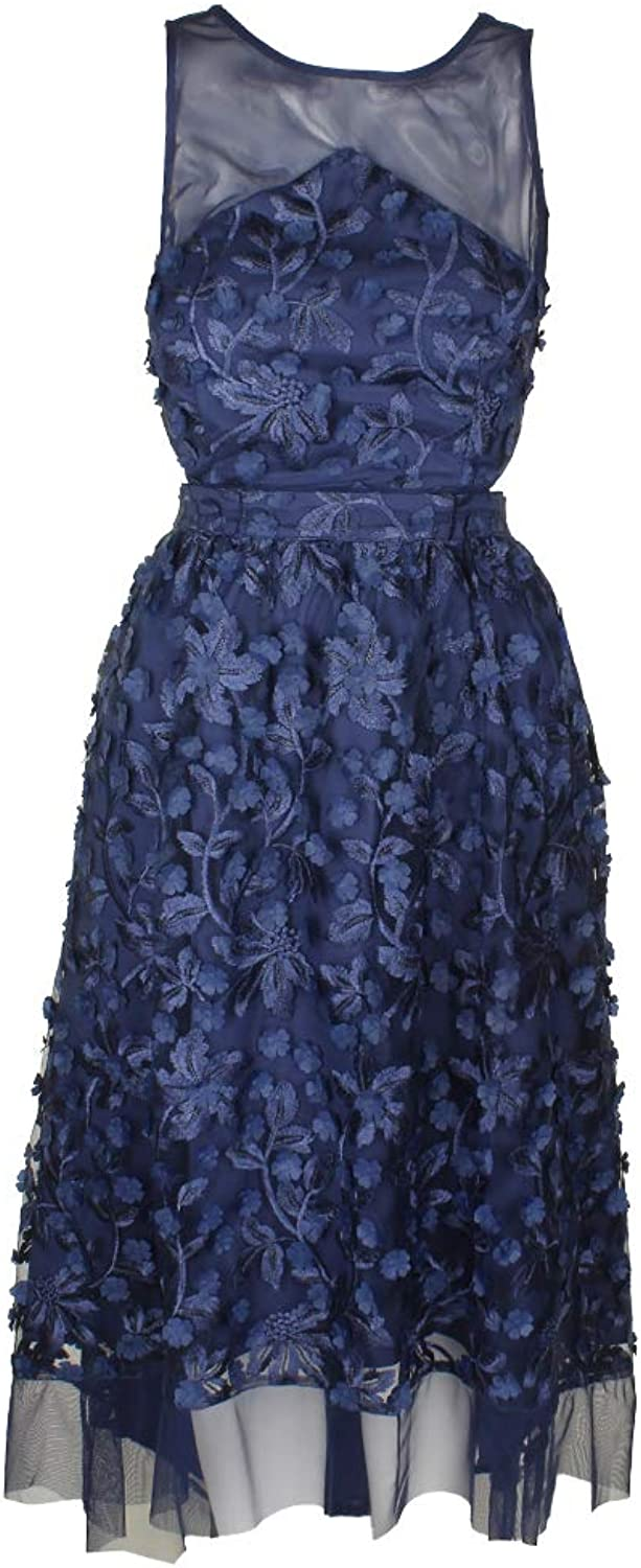 Aidan Mattox Aidan Womens Open Back Floral Evening Dress