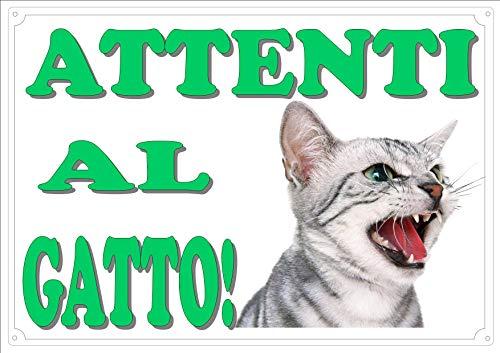 Cartello Targa'ATTENTI AL GATTO' da Cancello GATTO ARRABBIATO cm 30 x 21,5