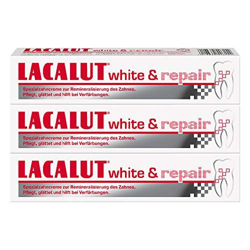 LACALUT WHITE & REPAIR ZAHNCREME, 75ml Zahnpasta zum Aufhellen der Zähne, Straffung und Festigung des Zahnfleischs, Zahncreme für weiße Zähne, 3 x 75ml
