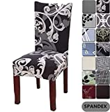 YISUN Dining Chair Covers, Stretch Removable Washable Dining Chair Protector Cover Seat Slipcover for Hotel, Dining Room, Ceremony, Banquet Wedding Party (Black / Grey, 6 PCS)