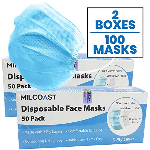 Milcoast 3-Ply Layer Protective Disposable Soft Earloop Face Masks - 100 Pack
