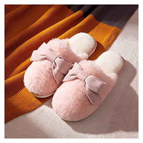 Zapatos caseros zapatillas de interior Lindas zapatillas de piel de arco for las mujeres Invierno Nuevo Bandado cálido Plush dormitorio zapatos planos planos casa parejas peluches zapatillas memoria a