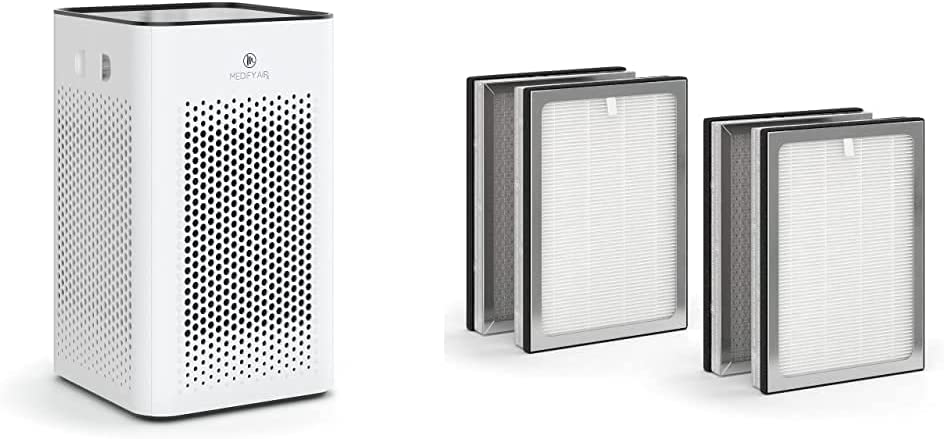 Medify MA-25 Air Purifier with two additional H13 True HEPA replacement Filters 500 sq ft Coverage | for Smoke, Smokers, Dust, Odors, Pet Dander | Quiet 99.9% Removal to 0.1 Microns | White, 1-Pack