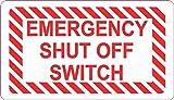 StickerTalk Emergency Shut off Switch Vinyl Sticker, 3.5 inches by 2 inches