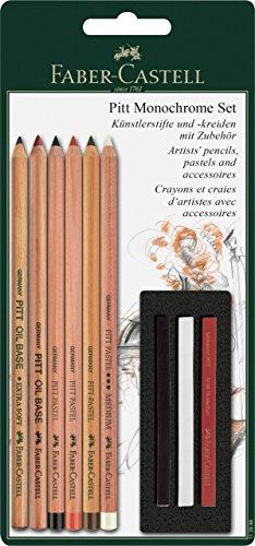 Faber-Castell 112998 - Set Pitt Monochrome de 6 lápices y 3 tizas