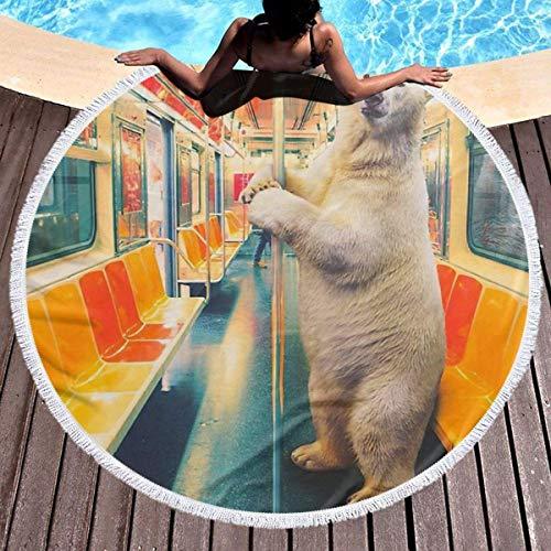 Nazi Mie Toalla de Playa Redonda Manta Tren expreso Polar Divertido Oso Polar Toallas de Playa Alfombra de Picnic