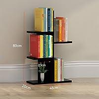 YSDHE シンプルな本棚シェルフソリッドウッド多層ランディングバルコニーストレージは学生本棚ラック (Color : Black)