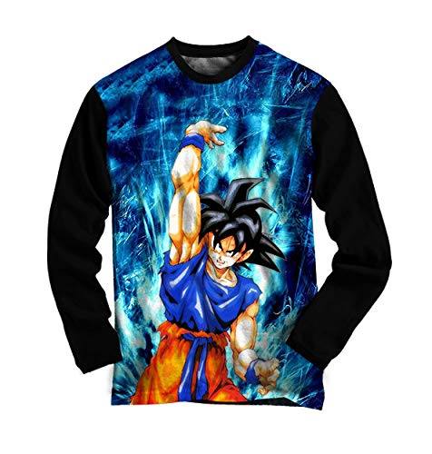 Camiseta Goku Manga Longa Dragon Ball Z - Azul - Camisa Anime Infantil e Adulto (10 Anos)