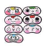 Flyusa 8 Pcs Cute Cartoon Sleeping Eye Face Mask Cover Funny Novelty Eye Cover Travel Shades Blindfold(Random)
